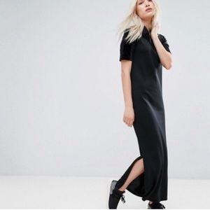 Adidas originals trefoil velvet maxi black dress